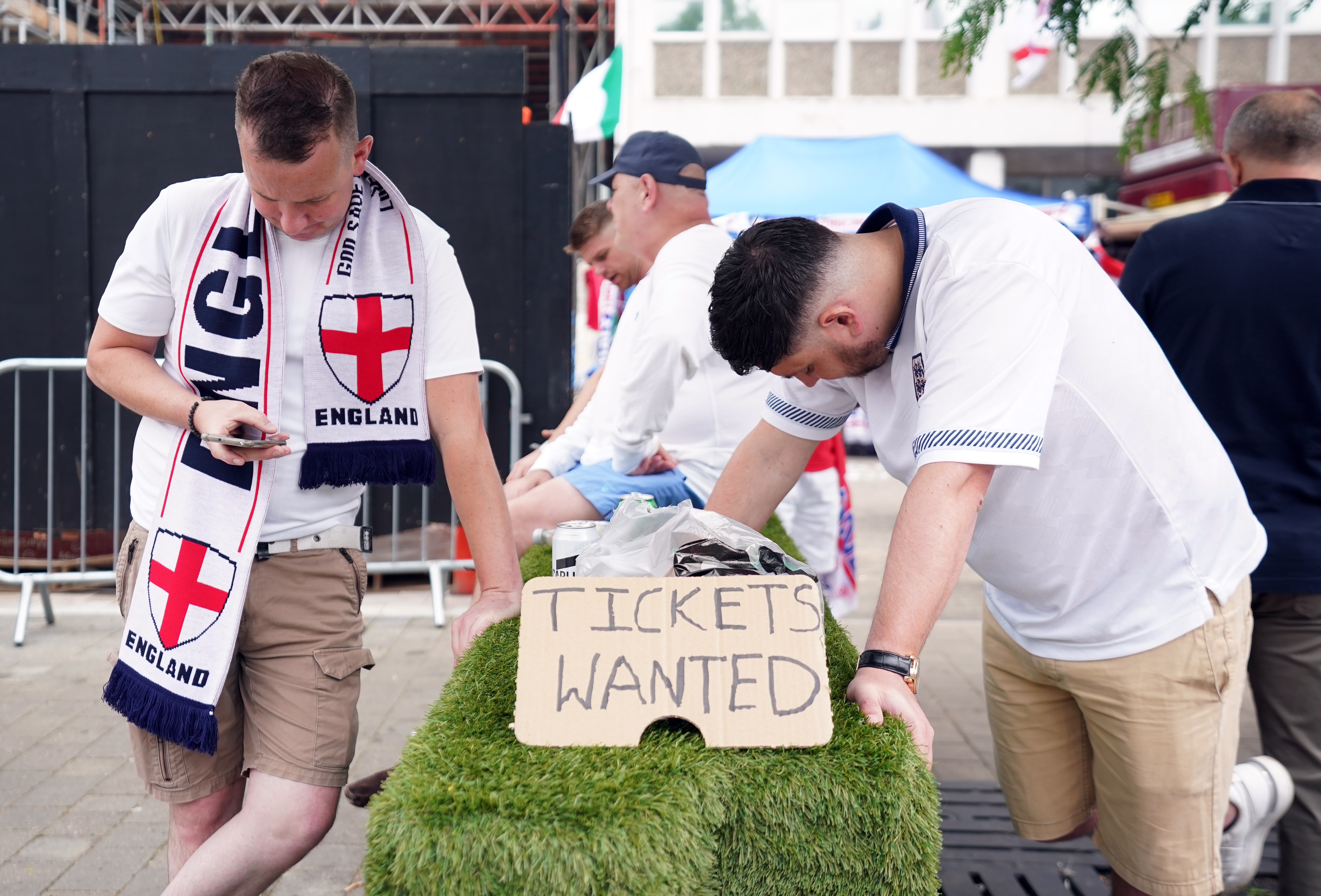 England fans looking for tickets outside the ground
