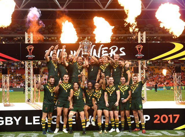 Australia celebrate after the final of the 2017 Rugby League World Cup