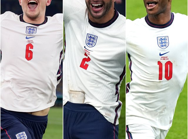 <p>Harry Maguire, Kyle Walker and Raheem Sterling enjoyed impressive Euro 2020 campaigns</p>