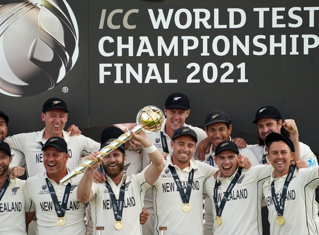 New Zealand celebrate victory against India in the inaugural World Test Championship final
