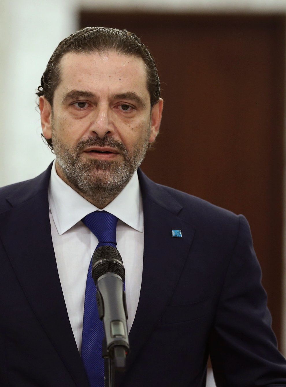 Lebanon's prime minister-designate Saad Hariri after his meeting with President Michel Aoun