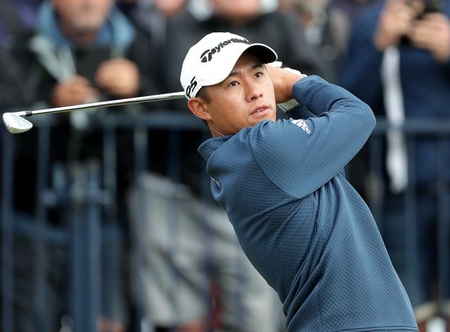 Collin Morikawa tees off