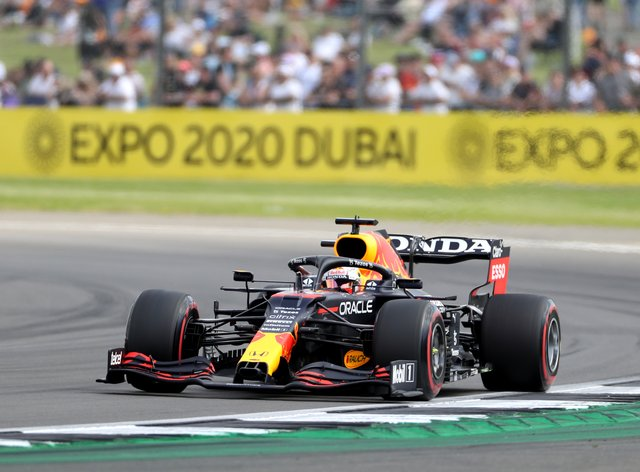 Max Verstappen finished fastest in practice for the British GP