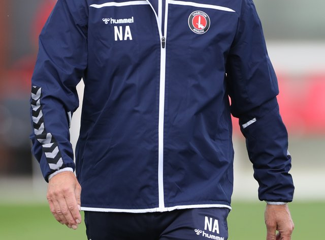 Charlton manager Nigel Adkins on the touchline