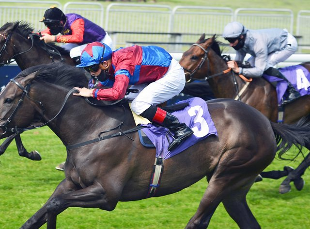 Golden Pass (near side) opened her Listed account at Newmarket