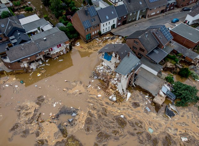 A view of destroyed houses in Erftstadt-Blessem, Germany (Michael Probst/AP)
