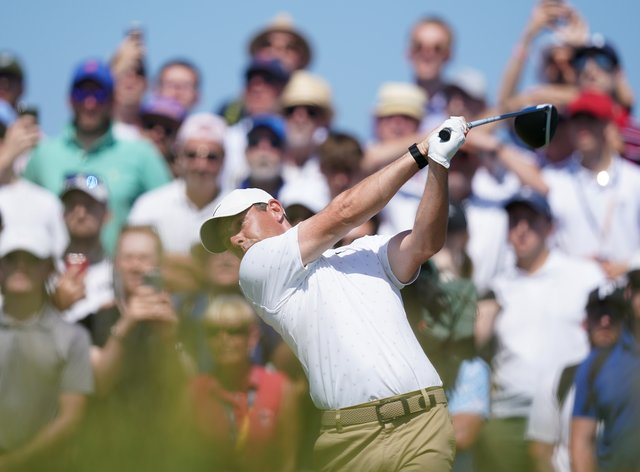 Rory McIlroy tees off at Royal St George's