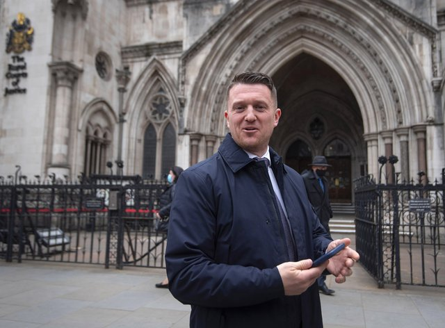 Tommy Robinson outside the Royal Courts of Justice