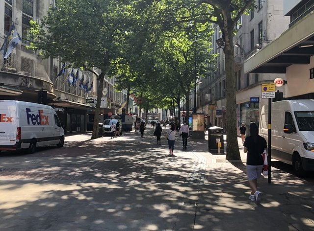 A largely deserted New Street, in the heart of Birmingham city centre, as legal restrictions on masks were lifted on so-called freedom day in England (Matthew Cooper/PA)