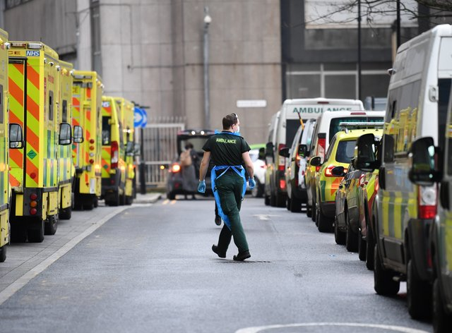 Ambulances at Whitechapel hospital in London during the second wave of coronavirus in January (Stefan Rousseau/PA)