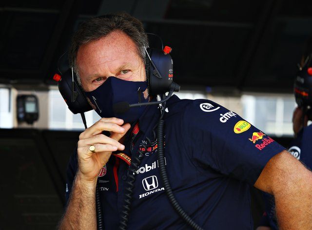 Christian Horner, pictured, was unhappy with Lewis Hamilton after Sunday's British GP