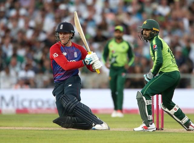 Jason Roy, left, hits out against Pakistan