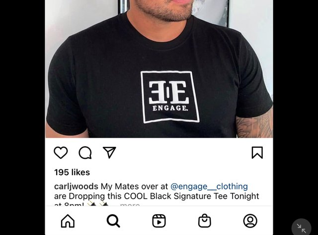Carl Woods' Instagram post for Engage Clothing. (ASA/PA)