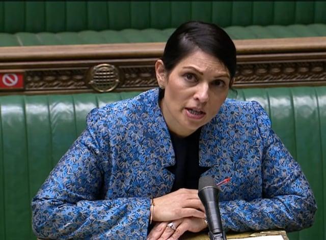 Home Secretary Priti Patel speaking in the House of Commons, London