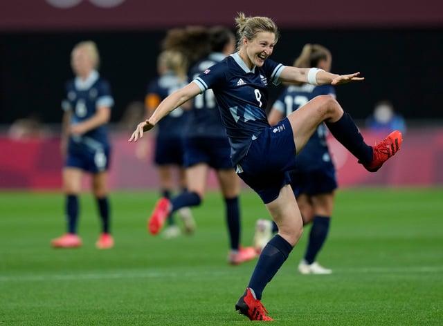 Ellen White celebrates scoring Great Britain's second goal against Chile