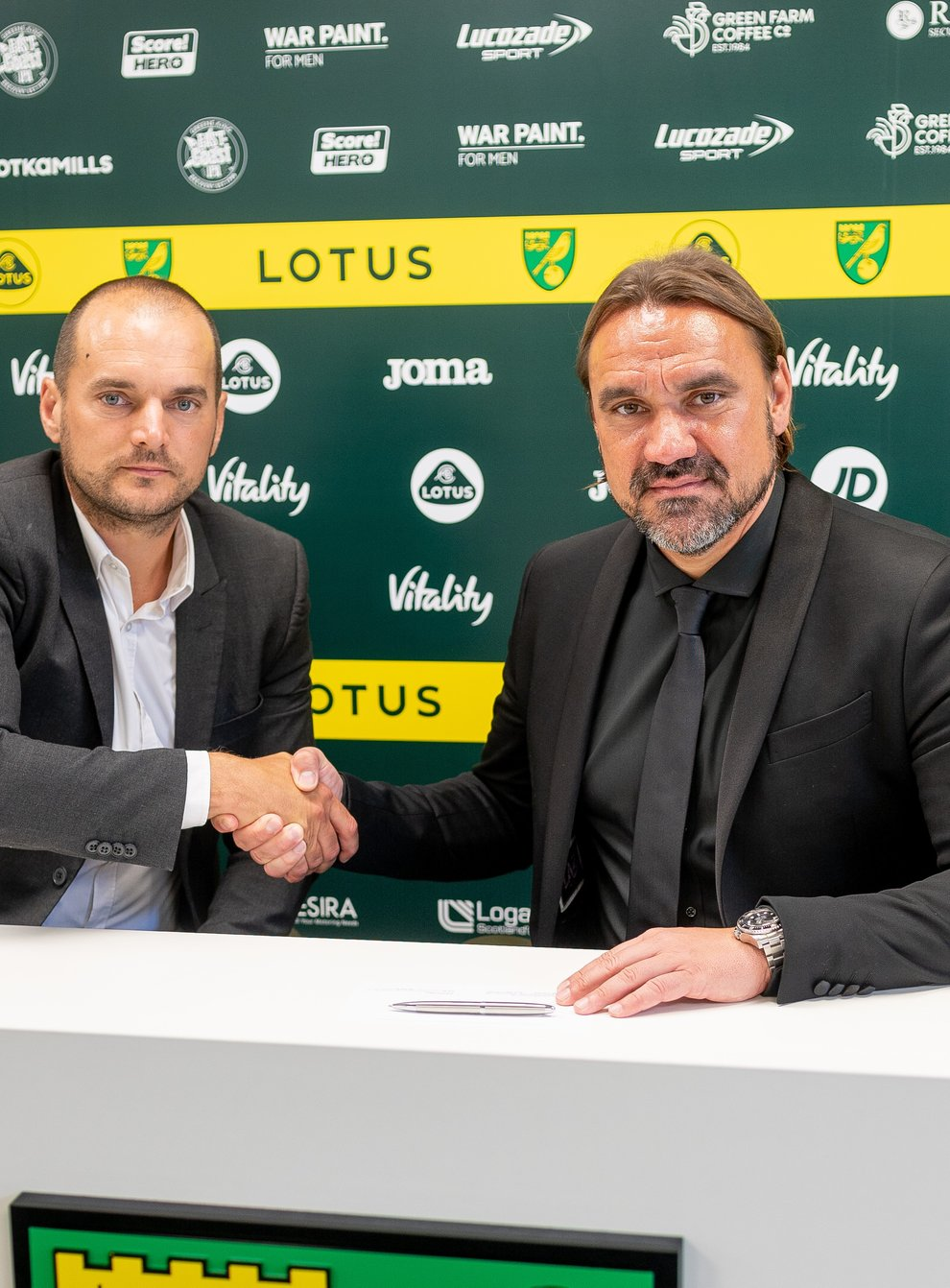 Norwich head coach Daniel Farke has signed a new contract at the club, pictured on right, alongside sporting director Stuart Webber (Matthew Usher/Norwich City FC/PA handout)