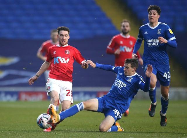 Former Ipswich midfielder Liam Gibbs, right, made his senior debut against Charlton in November (Steven Paston/PA)