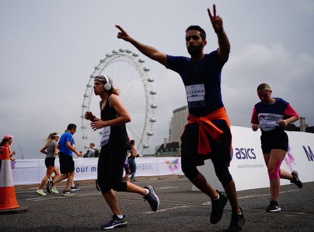 Runners on Westminster Bridge taking part in the Asics London 10k (PA)