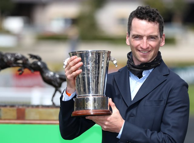Patrick Mullins after being crowned champion amateur at Punchestown (Niall Carson/PA)