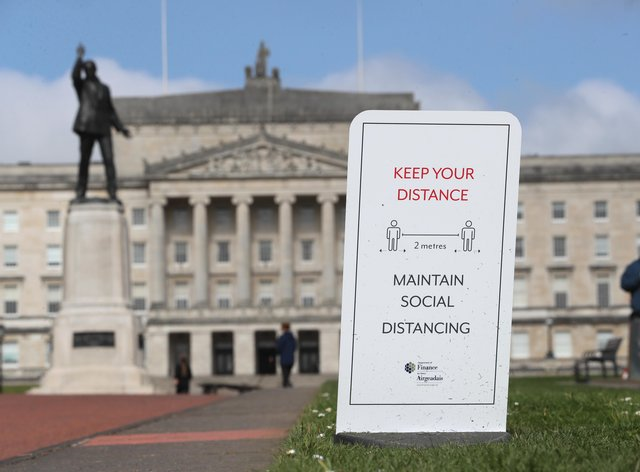 A social distancing sign in the Stormont Estate in Belfast (Brian Lawless/PA)