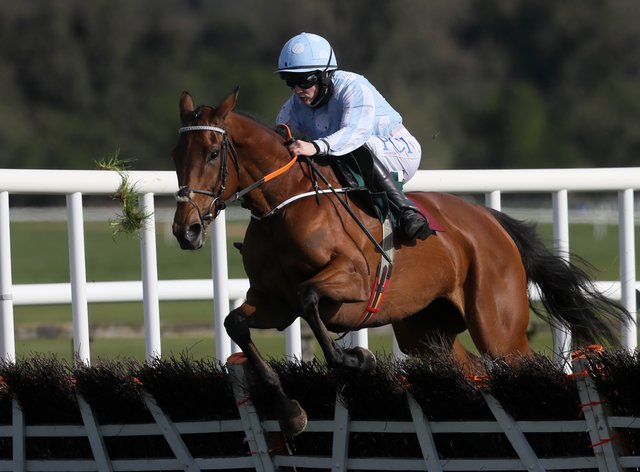 Honeysuckle ridden by Rachael Blackmore on their way to winning the Paddy Power Champion Hurdle during Day Four of the Punchestown Festival (PA)