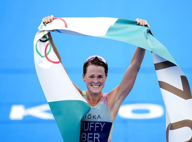 Bermuda's Flora Duffy celebrates winning triathlon gold in Tokyo (Danny Lawson/PA)