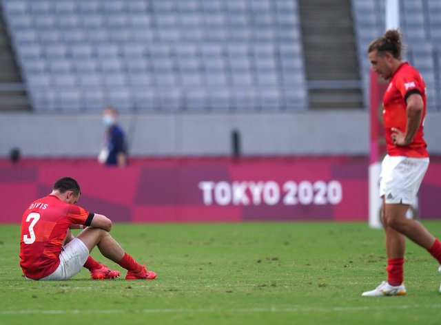 Dan Bibby, right, appears dejected after losing to Argentina (Adam Davy/PA)