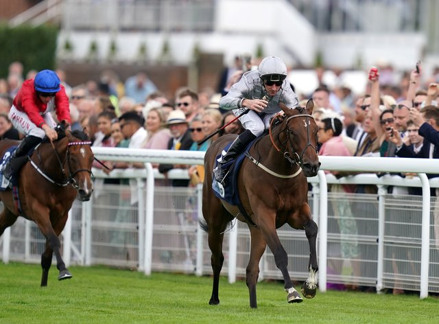 Illustrating and Daniel Tudhope coming home to win the British Stallion Studs Alice Keppel EBF Fillies' Conditions Stakes (John Walton/PA)