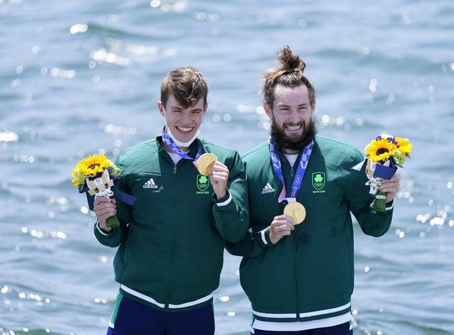 Ireland's Fintan McCarthy and Paul O'Donovan celebrate gold. (Danny Lawson/PA)