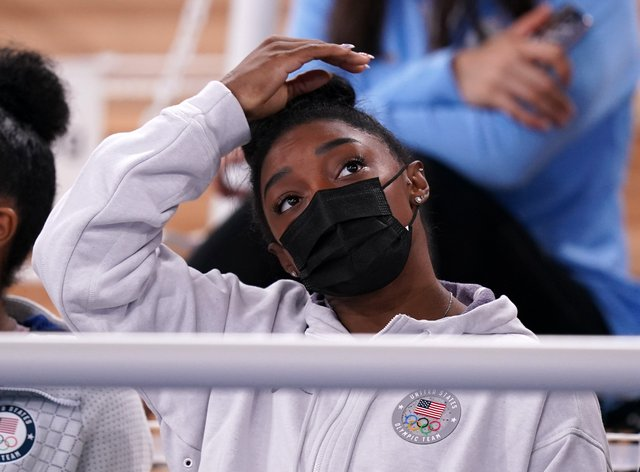 Simone Biles watched the all-around final from the stands (Mike Egerton/PA)