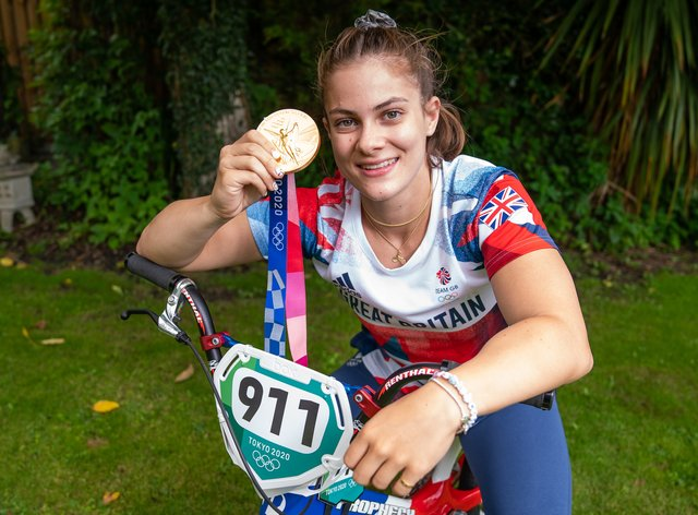 BMX gold medallist Beth Shriever on her bike at her home in Finchingfield, Essex, after returning from the Olympics in Tokyo (Aaron Chown/PA)