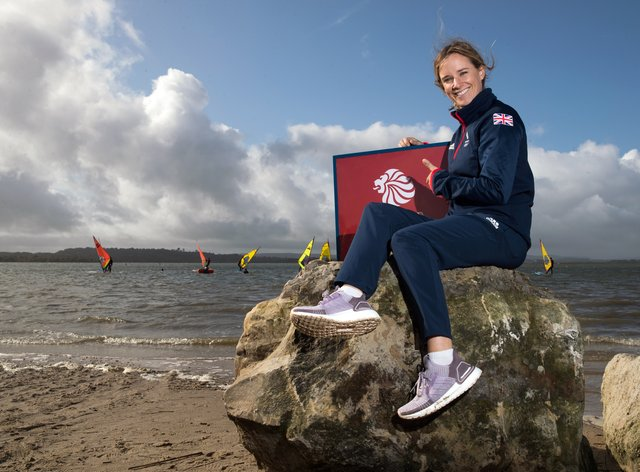Hannah Mills successfully defended her Olympic title in the 470 class (Andrew Matthews/PA)