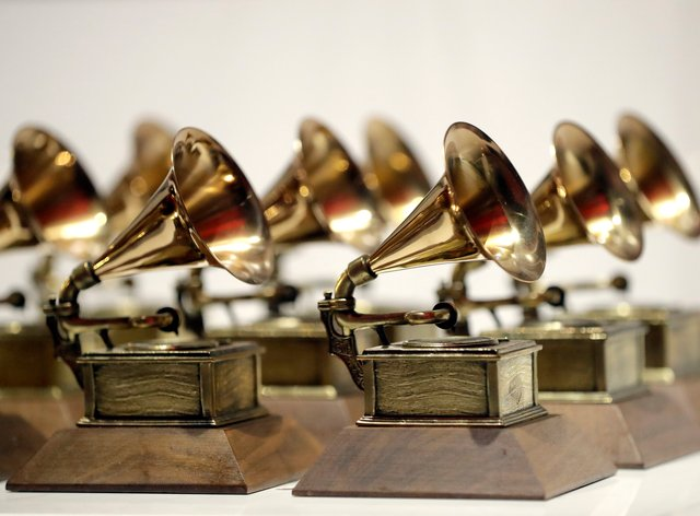 Various Grammy Awards are displayed at the Grammy Museum Experience (Julio Cortez/AP)
