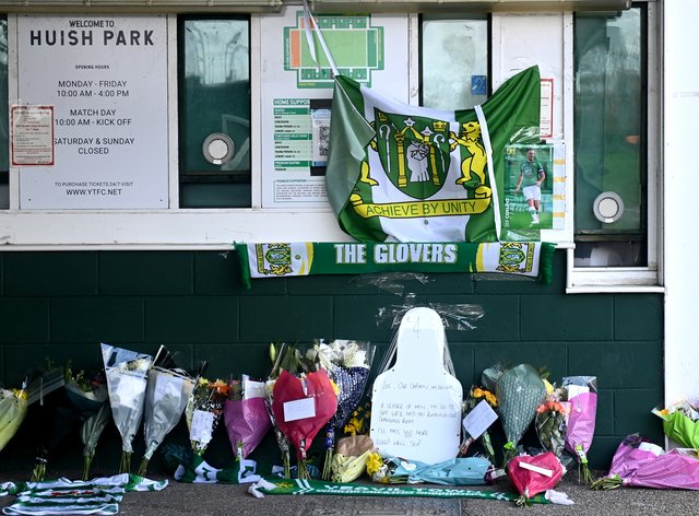 Tributes were laid outside Huish Park following his death (Simon Galloway/PA)
