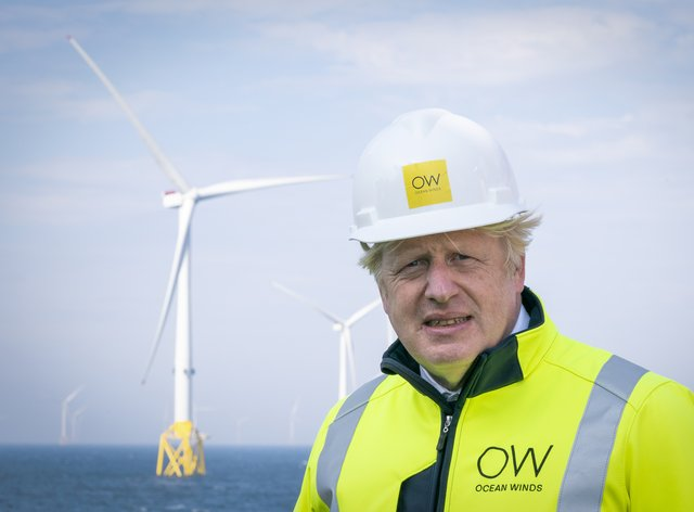 Prime Minister Boris Johnson onboard the Esvagt Alba during a visit to the Moray Offshore Windfarm East, off the Aberdeenshire coast (Jane Barlow/PA)