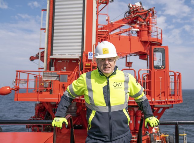Boris Johnson spoke as he visited Esvagt Alba during a visit to the Moray Offshore Windfarm East (Jane Barlow/PA)