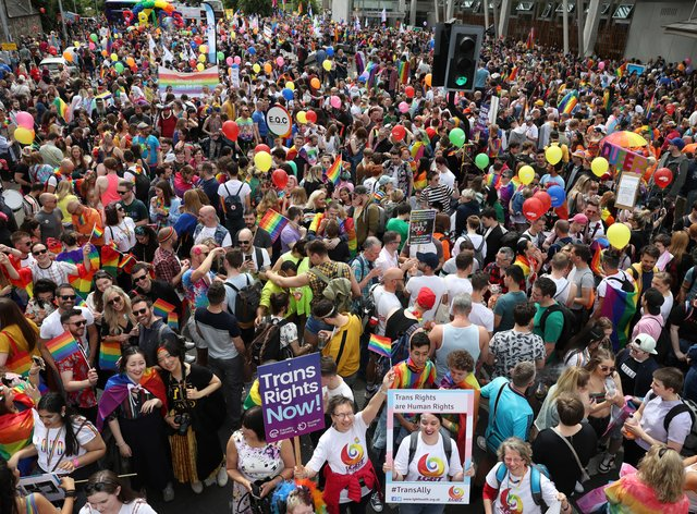 Pride marchers at a previous rally outside the Scottish Parliament in Edinburgh (Andrew Milligan/PA)