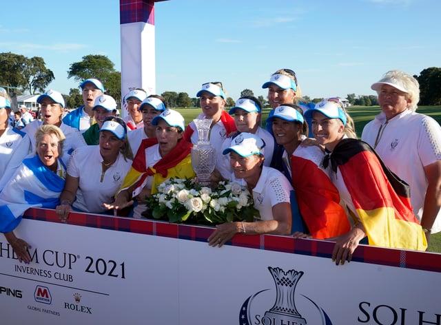 Europe celebrate their Solheim Cup win (Carlos Osorio/AP)