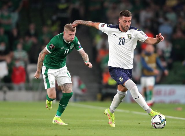 Sergej Milinkovic-Savic, right, was in the thick of the action (Niall Carson/PA)