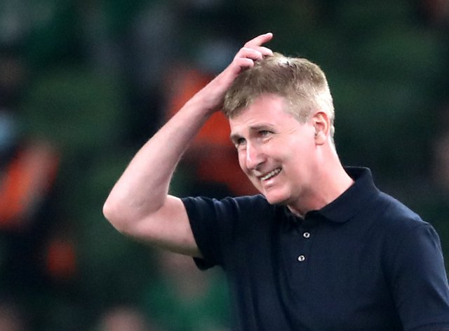 Republic of Ireland manager Stephen Kenny saw his side fight back to snatch a 1-1 World Cup qualifier draw with Serbia ( Niall Carson/PA)