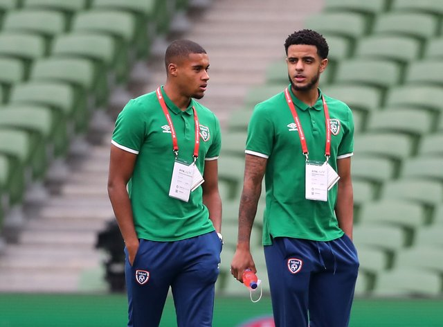Republic of Ireland teenagers Andrew Omobamidele (right) and Gavin Bazunu starred in a 1-1 World Cup qualifier draw with Serbia (Niall Carson/PA)