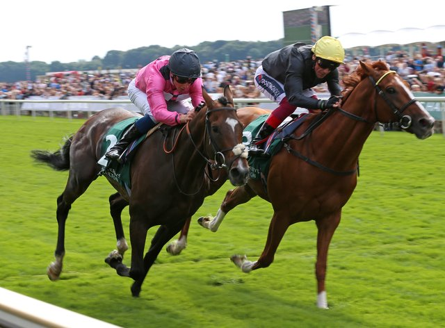 Spanish Mission (left) battled it out with Stradivarius at York (Nigel French/PA)