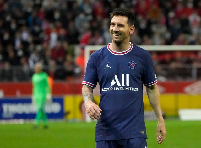 The age of recent Paris St Germain recruits such as Lionel Messi, pictured, has been mocked by LaLiga president Javier Tebas (Francois Mori/AP)
