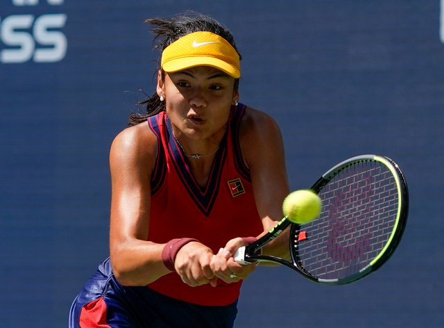 Emma Raducanu is into the last four at the US Open (Elise Amendola/AP)