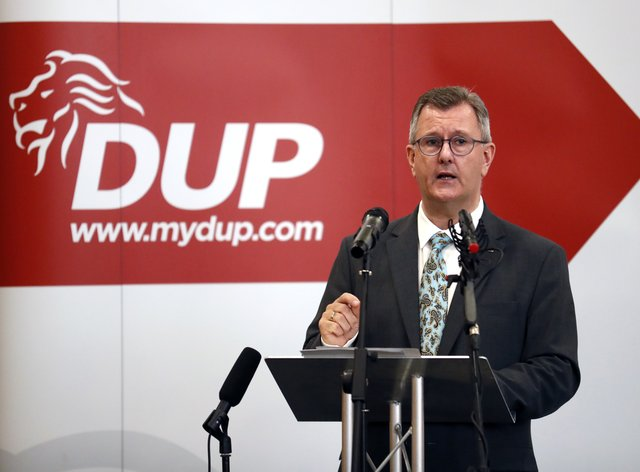 Democratic Unionist Party leader Jeffrey Donaldson makes a key note speech on the Northern Ireland Protocol to senior party members at the La Mon hotel in east Belfast. Picture date: Thursday September 9, 2021.