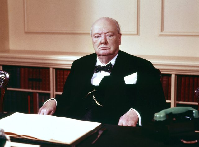 Sir Winston Churchill in the cabinet room at 10 Downing Street (PA)
