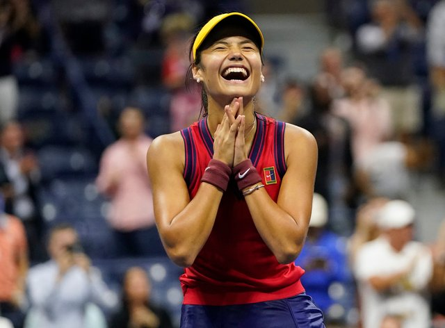 Emma Raducanu beat Maria Sakkari to reach the US Open final (Frank Franklin II/AP)