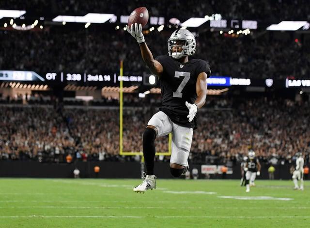 Las Vegas Raiders wide receiver Zay Jones celebrates after scoring the game-winning touchdown against the Baltimore Ravens (David Becker/AP)