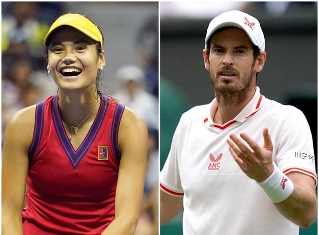Emma Raducanu and Andy Murray (PA)