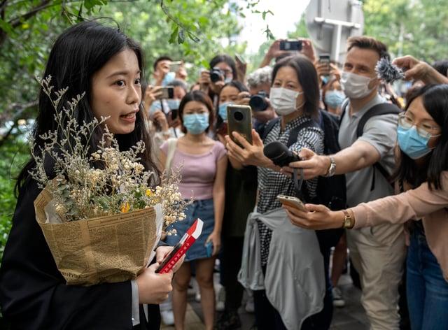 Zhou Xiaoxuan speaks outside court (AP)
